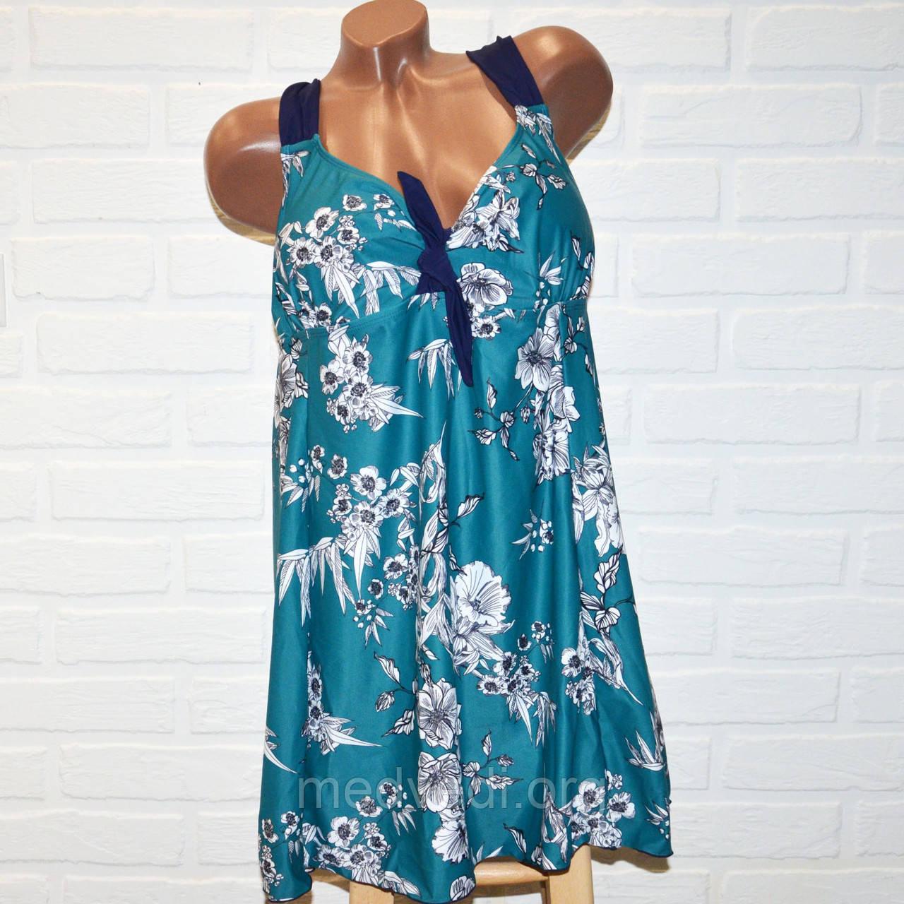 Зеленый купальник платье 68 размер, шикарный танкини для больших дам