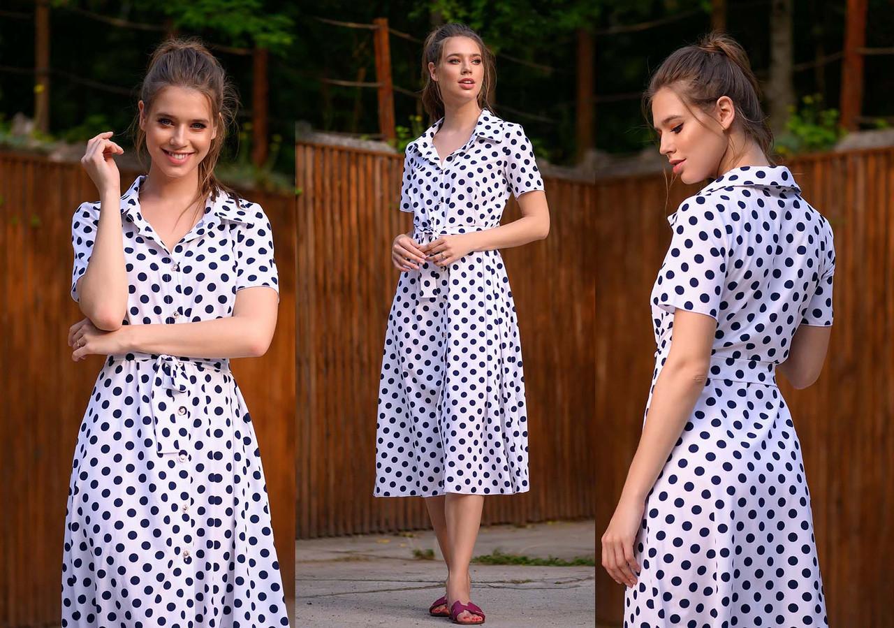 """Женское летнее стильное платье  0438 """"Софт Горошек Миди Пуговицы"""" в расцветках"""