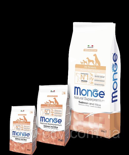 Monge PUPPY JUNIOR SALMONE & RICE сухой корм для щенков ЛОСОСЬ и РИС 800г