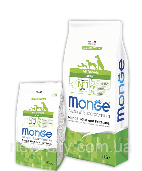 Monge ADULT RABBIT, RICE & POTATOES сухой корм для собак КРОЛИК & РИС и КАРТОФЕЛЬ 2,5 кг