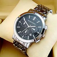 Стильные кварцевые часы Burberry С06 на металлическом браслете, серебряного цвета, черный циферблат с датой