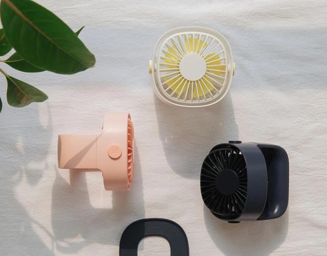 Портативный настольный вентилятор Xiaomi Mijia с перезаряжаемым встроенным аккумулятором Черный Белый  Розовый