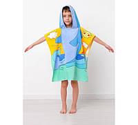 Детское пляжное полотенце пончо Дельфин велюр-махра