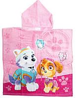 Детское пляжное полотенце пончо Щенячий Патруль велюр-махра розовый
