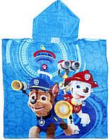 Детское пляжное полотенце пончо Щенячий Патруль велюр-махра  голубой