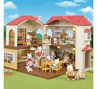 Огромный загородный дом со светом Sylvanian Calico Red Roof Cozy Cottage
