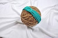 """Вязаные повязки для малышей, """"Косичка"""" бирюзовая 42-54, фото 1"""