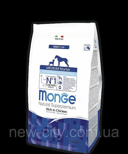 Monge MEDIUM STARTER FOR MOTHER AND BABY сухой корм для щенков средних пород КУРИЦА и РИС 1.5 кг