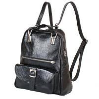 Рюкзак городской Laskara Рюкзак женский кожаний LASKARA (ЛАСКАРА) LK-DM229-croco-black