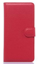 Кожаный чехол-книжка для Sony Xperia C4 красный