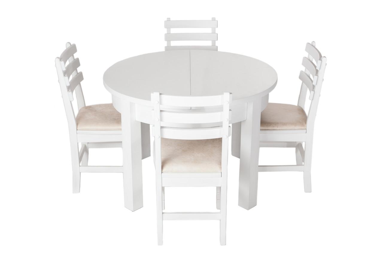 Обеденный комплект стол круглый кухонный обеденный и 4 стула дубовых 007