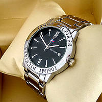 Стильные кварцевые часы Tommy Hilfiger А146 на металлическом браслете серебряного цвета черный циферблат датой
