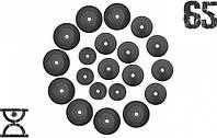 65 кг (4 по 1.25, 8 по 2.5, 8 по 5 кг) дисков, покрытых пластиком (31 мм)