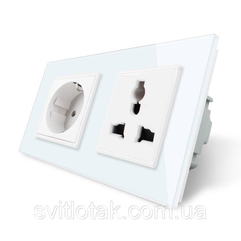 Розетка евро и универсальная силовая Livolo цвет белый стекло (VL-C7C1EUC1C-11)