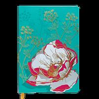 Блокнот деловой CHERIE А5, 96 листов, клетка, обложка из искусственной кожи, бирюзовый Buromax (Im)