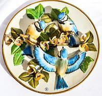 Восхитительная тарелка,панно! Птицы! Capodimonte.