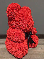 Мишка из роз 40 см красный (черный бант) 830086