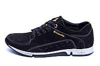Мужские кожаные летние кроссовки, перфорация Columbia Black (реплика)