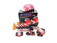 Ролики детские со шлемом и защитой Kepai F1-K9 (S и L) красные