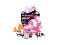 Ролики детские со шлемом и защитой Kepai F1-K9 (S и L) розовые