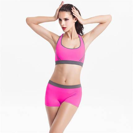 Спортивный костюм шортами Caroset 1098 розовый с серым, фото 2