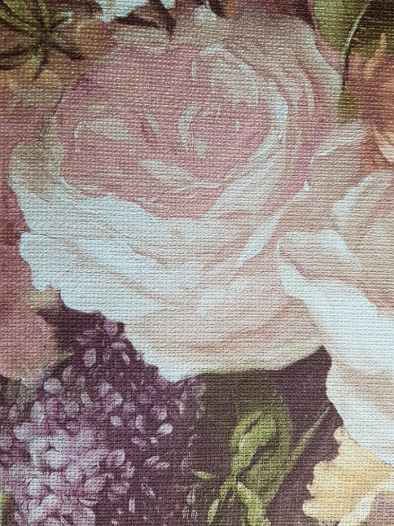 Обои виниловые на флизелине Grandeco A37605  ELENA метровые сиреневые цветы розы сирень