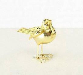 Декоративная птичка золото h10см 1011082