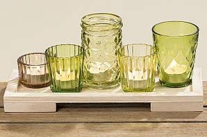 Набор подсвечников зеленое стекло l28см 3866700