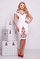 Белое платье нарядное с красными цветами, со съемной шифоновой юбкой, S M L, фото 3