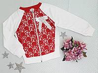 Кофта на байке, размер 2-6 лет, красный+молочный, фото 1