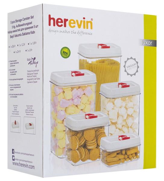 Набор контейнеров для сыпучих HEREVIN LUXOR BIANCA WHITE 0.6л, 1.2л, 1.8л, 2.3л, 3л