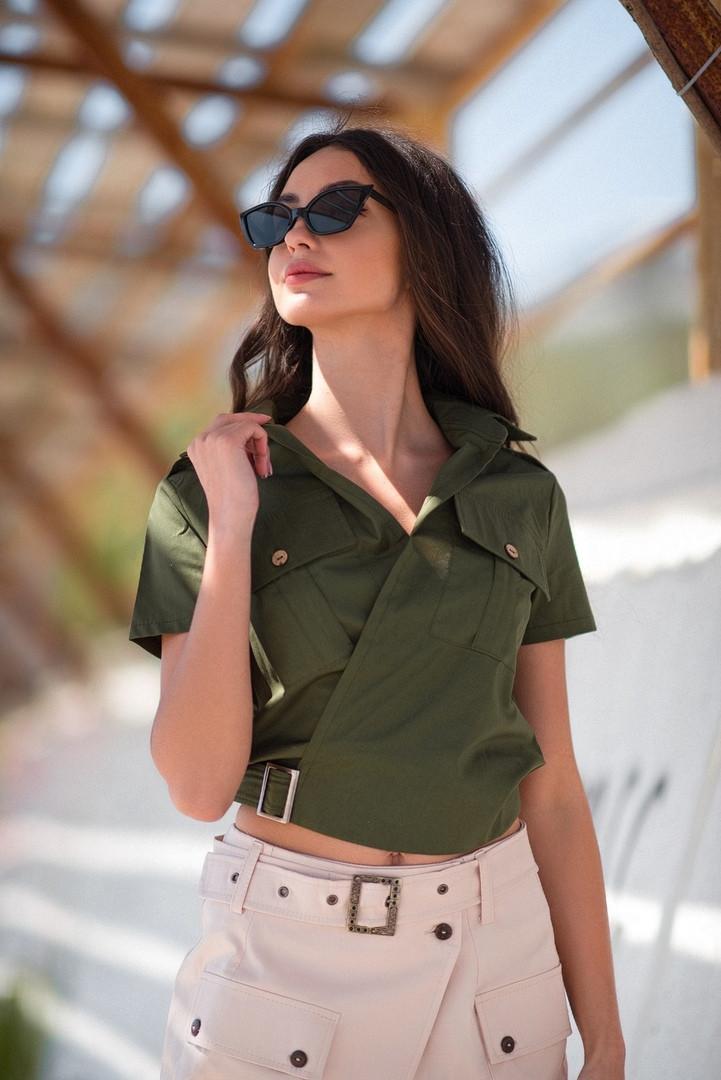 Рубашка женская из коттона с коротким рукавом на запах (К28141)