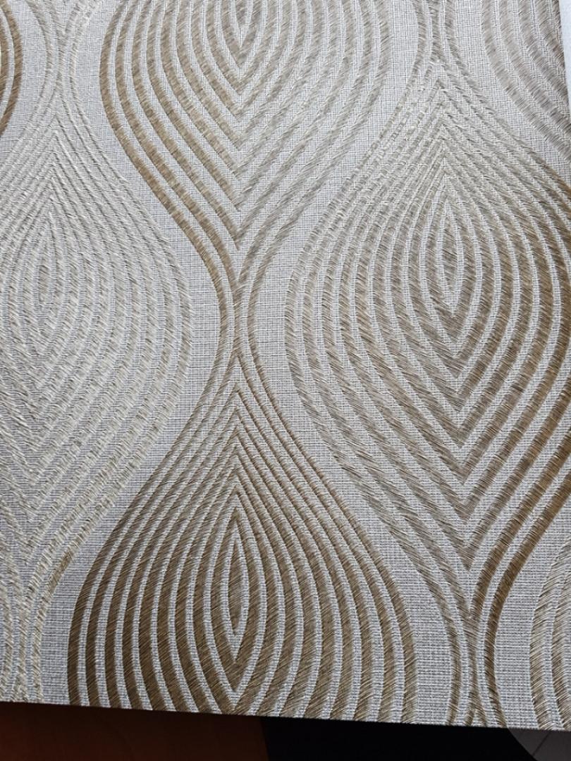 Обои виниловые на флизелине Grandeco A36205  ELENA метровые коричневые волна фигуры золотые