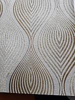 Обои виниловые на флизелине Grandeco A36205  ELENA метровые коричневые волна фигуры золотые, фото 1