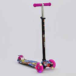 "Самокат А 24651 /779-1395 MAXI ""Best Scooter"" пластмасовий, 4 колеса PU, СВІТЛО, трубка керма алюмінієва"