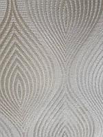 Обои виниловые на флизелине Grandeco A36201  ELENA метровые молочные волна фигуры серебряные