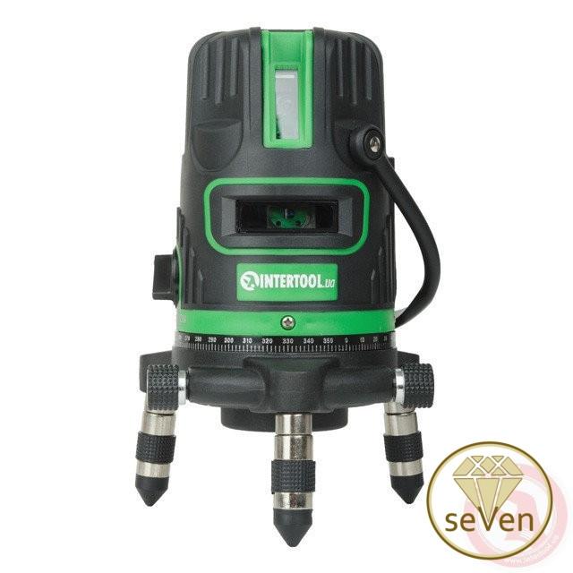 Уровень лазерный, 5 лазерных головок, зеленый луч, звуковая индикация INTERTOOL MT-3008