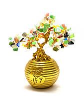 Дерево в золотой кадке (20х19х12 см)(12216)