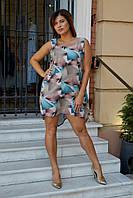 Легкое летнее асимметричное платье широкого кроя удлиненное сзади полубатал и батал