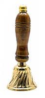 Колокольчик бронза с деревянной ручкой (13х5х5 см)(Bell Wood Handle small)