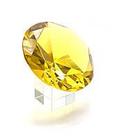 Кристалл хрустальный на подставке желтый (10 см)(6079)