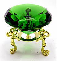 Кристалл хрустальный на подставке зеленый (5 см)