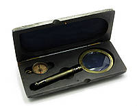 Лупа с компасом в деревянном футляре (23,5х11х4 см)(Brass,Wood Kit Box with Compass & Magnifier)
