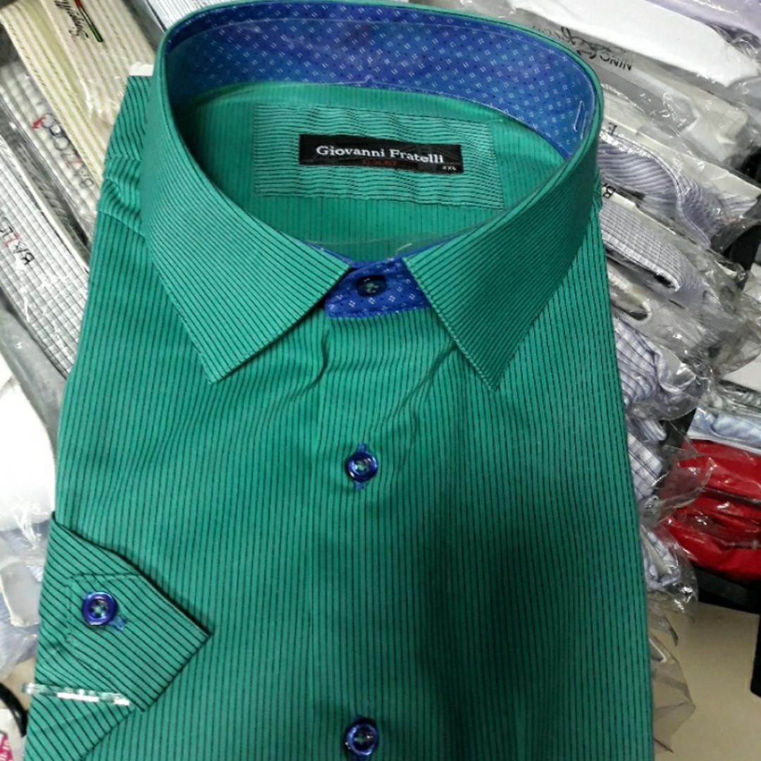 Рубашка мужская Giovanni Fratelli короткий рукав 8143 бирюза