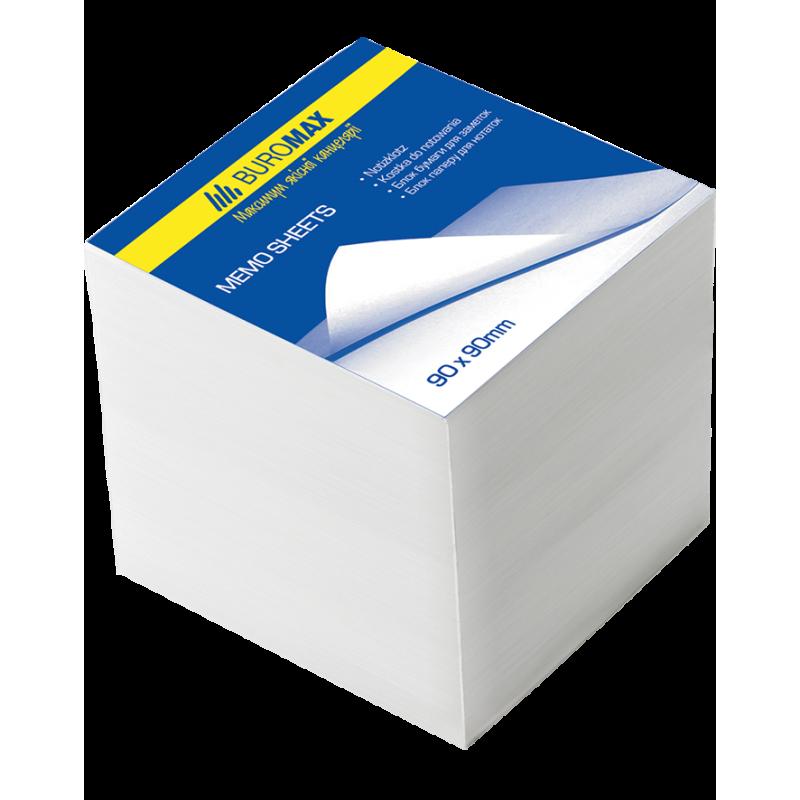 Блок бумаги для заметок 90х90х90 мм, белый, не склеенный