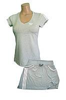 Костюм летний трикотажный. Футболка и юбка. Серый\былый