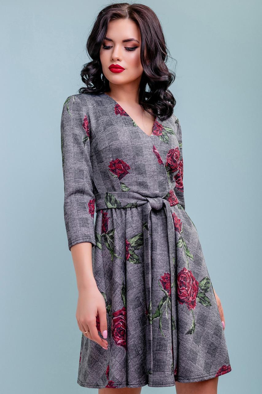 Расклешенное кежуал платье женское 3215