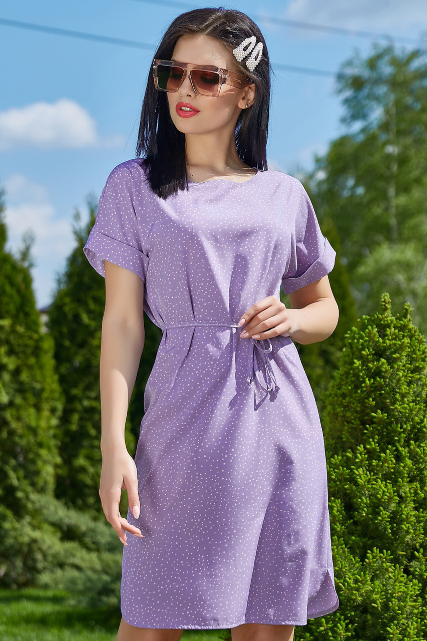 Ніжне бузкове літнє плаття вільного покрою 3507