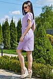 Ніжне бузкове літнє плаття вільного покрою 3507, фото 3