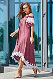 Элегантный и модный сарафан свободного кроя цвета марсала 3533, фото 2